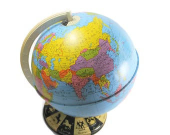 Vintage Metal World Globe with Zodiac Base, 1960's Ohio Art Lithographed Tin Globe, Office Decor, Collectible Globes