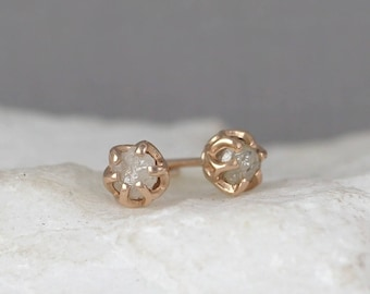 Diamond Earrings - Conflict Free Rough Raw Uncut Diamonds - 14K Rose Pink Gold and Raw Diamond Gemstone Stud Earrings - April Birthstone