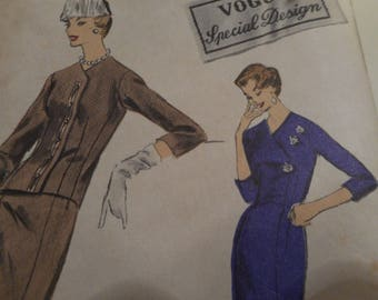 Vintage 1950's Vogue 4715 Special Design Dress and Jacket Sewing Pattern Size 12 Bust 32