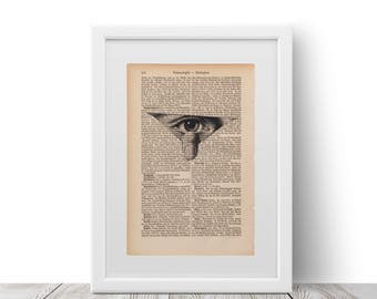 A Spying eye claw printed on an old page, vintage print of claw of an spying eye, a page from 1877, George Orwell 1984 inspired print.