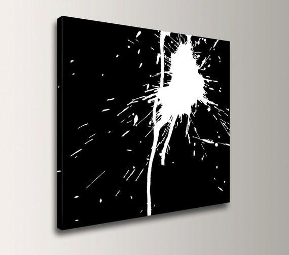 "Black and White Art - Abstract Art - Unique Wall Art - Canvas Print - Splat Art - ""Smash"""