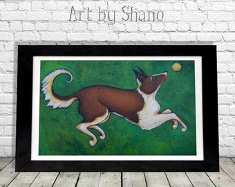 Border Collie Dog Art Print, Canine Artwork, Pet Lovers Gift, Wall Art, Home Decor, Puppy Wall Hanging, Gift for Mom, Entryway Decor, Shano