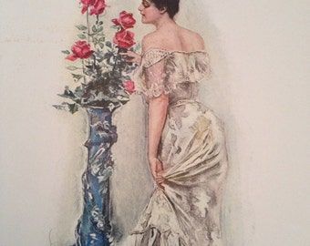 AMERICAN BEAUTIES- Howard Chandler Christy Vintage 1906 Book Print Victorian Color Lithograph to Frame