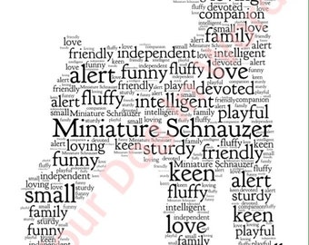 "Miniature Schnauzer dog unique personalised word art print 10 x 8"" FRAMED"