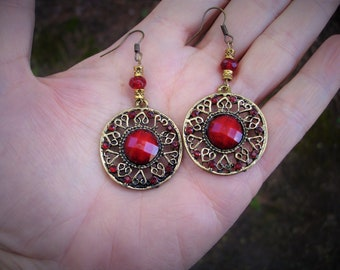 Red earrings, red earring, red jewelry, gypsy earrings, gypsy earring, boho earring, boho earrings, red gypsy earrings, red gypsy jewelry