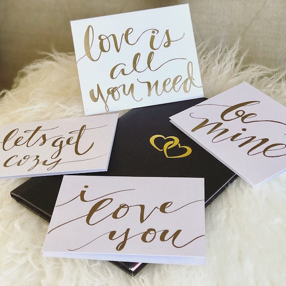 VALENTINE CALLIGRAPHY Note Cards / Can be personalized with Message inside / also just a treat to give anytime to someone special