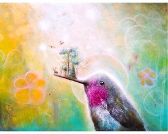 Hummingbird  Art Print -  Hummingbirds -  Surrealism -  Tree Art