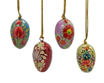 "1.75"" Set of 4 Floral Eggs Wooden Ornaments"