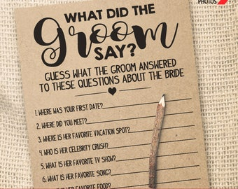 What Did the Groom Say Game Bridal Shower game printable Wedding shower game Bachelorette party rustic games Instant download WG115