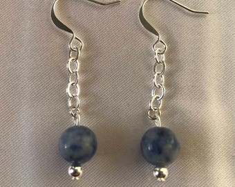 Lapis Lazuli Silver Plated Cable Chain Earrings
