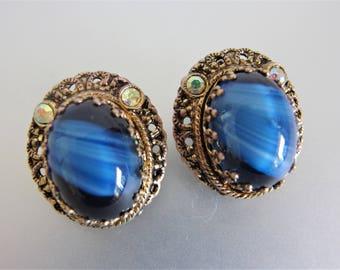 Vintage 1930's Blue Glass Filigree Brass  Earrings W. Germany