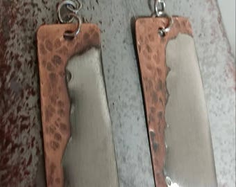 Copper Mixed Metal and  Silver Solder  Earrings