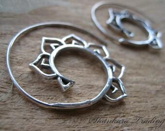 Lotus Spiral Earrings, Sterling Silver Hoop Earrings, Tribal Silver Earrings, Gypsy Hoop Earrings, Belly Dance Jewelry, Boho Hoop Earrings