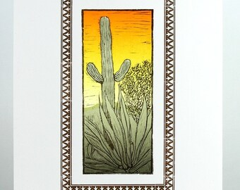 DESERT SCENE, Cactus landscape, Saguaro Cactus, Agave, Creosote, Letterpress Print, southwestern decor, desert plants, western sunset, cacti