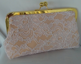 Gold ivory white lace summer clutch wedding evening prom clutch purse BBsCustomClutches