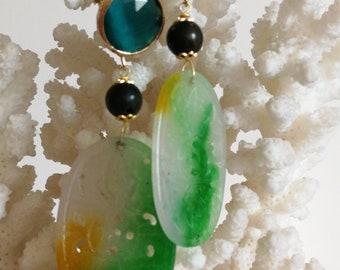 Carved Jade Earrings, semiprecious gemstone earrings, pendant earrings