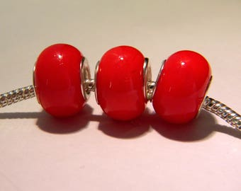2 bead charm European - glass lampwork - 14 x 10 mm - red tomato - D34 - 5