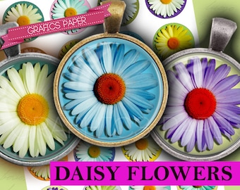 "Daisy flowers circles printable digital collage sheet - td197 - 1.5"", 1.25"", 30mm, 1 inch circles or 25mm - Jewelry Making, Scrapbooking"