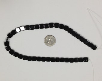 Black Onyx Square Beads - 10 mm, Black Beads, Gemstone Beads, Onyx Beads, Bead Destash