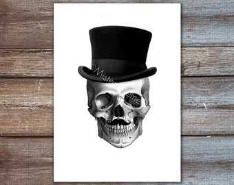 mister skull with mustache and tophat art print digital