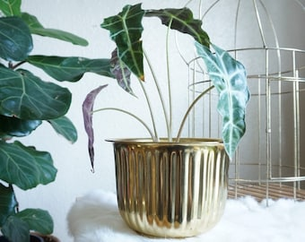 Vintage Lacquered Brass Planter Pot with Vertical Stripe Design