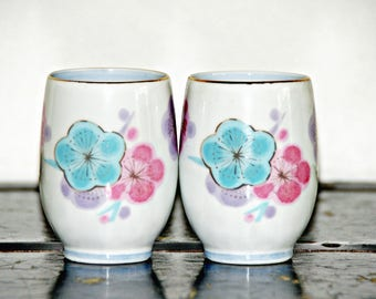 Koyo Sake Cups, Set of Two, Made in Japan, Pink, Aqua, Purple, Floral, Watercolor, Airbrush, Hand Painted, Multicolor,  Pastels, Soft Colors