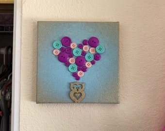 Owl and Heart - button art