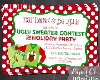 Polka Dots Ugly Sweater Christmas/Holiday Party Invite - Digital File ONLY