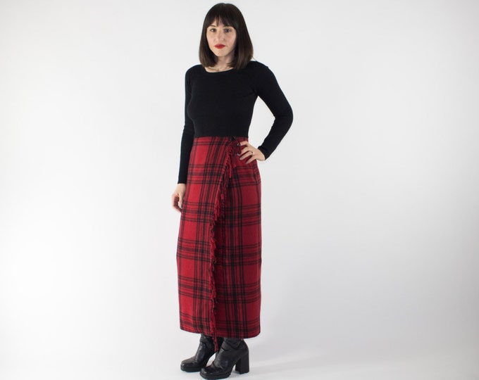 Vintage High Waisted Skirt | 90s Fringed Red and Black Tartan Long Skirt | Punk Goth Grunge Fashion
