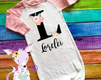 Custom Name Baby Gown Hospital outfit baby shower gift take home outfit photo prop gift mom Brand New new Initial Baby Gown Name custom