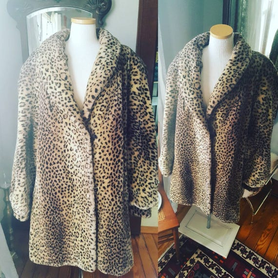 Faux Luxuriant Vegan Swing Plush Cheetah Vintage Fur Leopard Coat Volup qwf8OZd