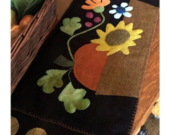 Fall Blooms Basket Wool Penny Rug Pattern by Cleo and Me