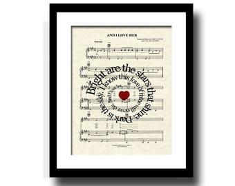 And I Love Her Song Lyric Sheet Music Art Print, Custom Wedding Gift, Custom Anniversary Art, Names and Date Art, First Dance
