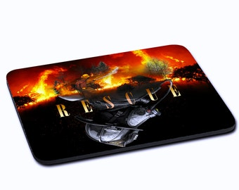 "MOUSEPAD printed with ""Rescue"""