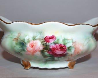 8102: Antique 1904 T V Limoges France Footed Bowl Roses Tressemane & Vogt Beautiful Porcelain at Vintageway Furniture