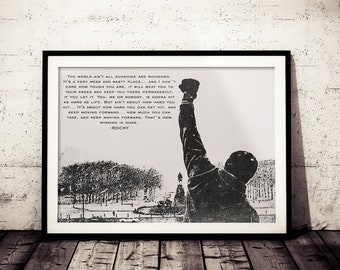 Rocky Inspirational Quote Fan Art Poster, Black and White Rocky Painting Print, Motivation Rocky Poster, Rocky Wall Decor, Rocky Balboa