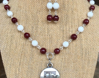 Texas A&M pendant beaded necklace and earrings, handmade with genuine jade faceted beads