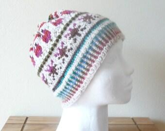 Knitting PATTERN HAT Beanie - Primavera Fair Isle Beanie - Digital Download