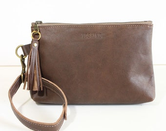 Leather Zipper Pouch / Clutch bag / Purse Clutch / Makeup Pouch with Strap Handle and Tassel Charm- Brown
