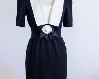 St John white linen and Black knit 1960s dress