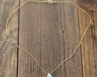 dainty gold necklace with triangle pendant / 24K gold plated / ball chain / handmade / gold chain