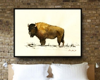 "American Buffalo Painting - up to 40"" - Large Size Watercolor Painting art wall - Buffalo Bison forest animal - by Juan Bosco"