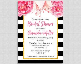 Bridal Shower Invitation, Black and White Stripe Peony Invite, Modern Floral Wedding Shower Invite, DIY PRINTABLE