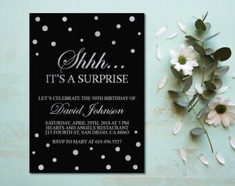 Shhh It's a Surprise Birthday Invitation/Printable Silver & Black Birthday Invitation Template/e-card/20th/30th/40th/50th/60th/70th/80th/90
