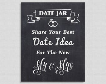 Date Jar Share Date Ideas Chalkboard Printable Sign, Wedding Decor, Reception Signage, INSTANT PRINTABLE