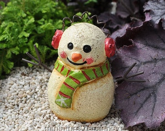 Earmuff Snowman for Miniature Garden, Fairy Garden