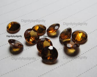 Natural Hessonite Garnet 6MM Faceted Round- 1 To 10 Pieces - 6MM Facete Hessonite Garnet Round
