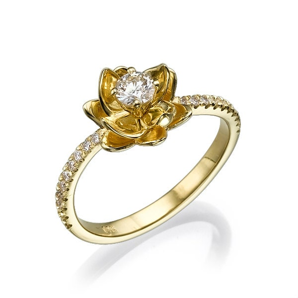 Flower Diamond Engagement Ring In 14k Yellow Gold Ring