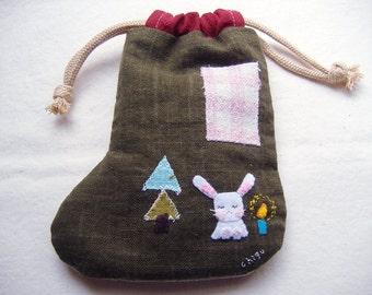 SALE--Kawaii handmade Christmas stocking-- candy bunny happy christmas stocking