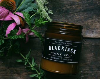 No. 11 FRONT PORCH Blackjack Wax Co. Handmade Soy Wax Candle 1/2 lb. Amber Jar Candle, Honeysuckle Candle, Scented Candle, Hand Poured